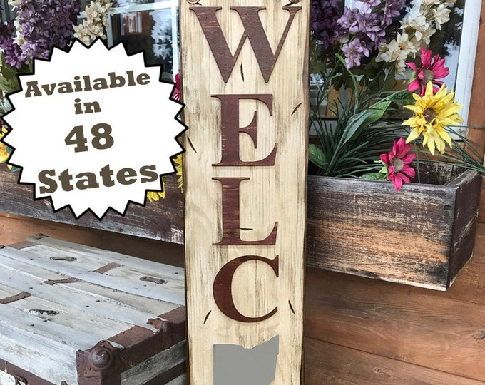 OHIO Sign Vertical Board, Indoor Outdoor, Farm Home Lake Welcome word, Rustic Distressed Wood *Antique Red White Blue Xl Large Wall OH