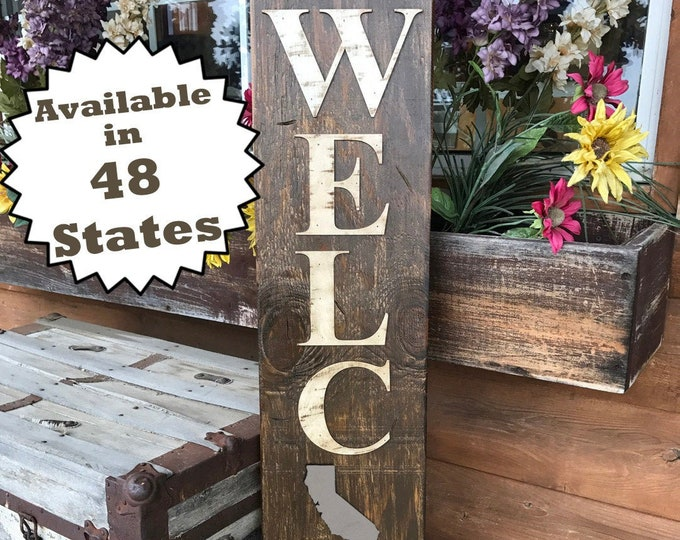 CALIFORNIA STATE Sign Vertical, Indoor / Outdoor, Farm Home Lake or Welcome, Rustic Distressed Wood *Antique Red White Blue Xl Large Wall CA