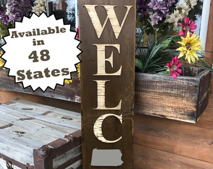 PENNSYLVANIA Sign Vertical Board, Indoor Outdoor, Farm Home Lake Welcome, Rustic Distressed Wood *Antique Red White Blue Xl Large Wall PA