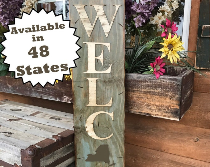 NEW YORK STATE Sign Vertical, Indoor Outdoor, Farm Home Lake Welcome word, Rustic Distressed Wood *Antique Red White Blue Xl Large Wall Ny