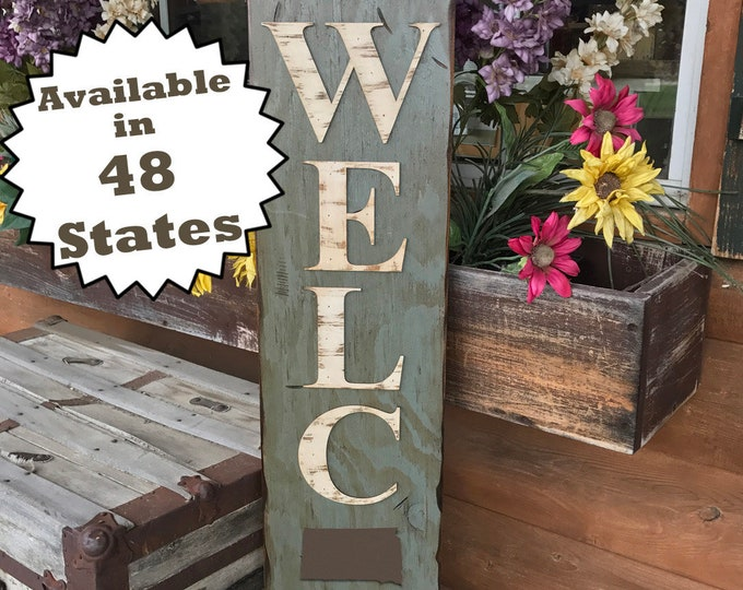 SOUTH DAKOTA STATE Sign Vertical, Indoor Outdoor, Farm Home Lake or Welcome, Rustic Distressed Wood *Antique Red White Blue Xl Large Wall Sd