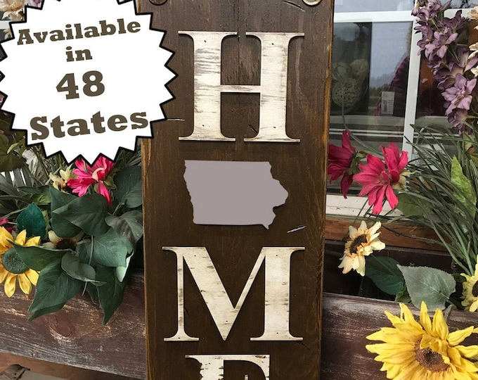 IOWA Sign Vertical Board, Indoor Outdoor, Farm Home Lake Welcome word, Rustic Distressed Wood *Antique Red White Blue Xl Large Wall IA
