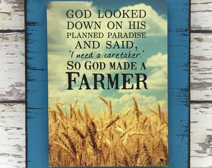 FARMER SIGN, So God made a Farmer, FIELD Farm House Country Farmhouse, Gift for Farmer, Distressed Reclaimed Wood Wall Home Decor Red Blue