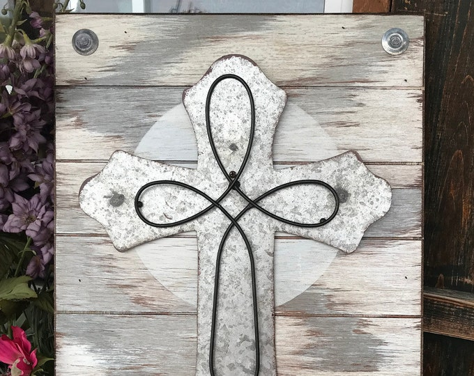 CROSS Wall Decor Art Hanging SIGN, Wood With Galvanized Metal Cross, Distressed Rustic, Gray Cream Black 14X20 Vertical Jesus God Religious