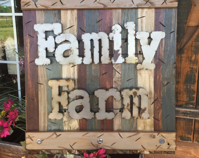FAMILY FARM Rustic Farmhouse Wall Sign BURG Reclaimed Decor Shutter Distressed Blue Green Burgundy Red Farmer Metal Large Pallet Cabin Home