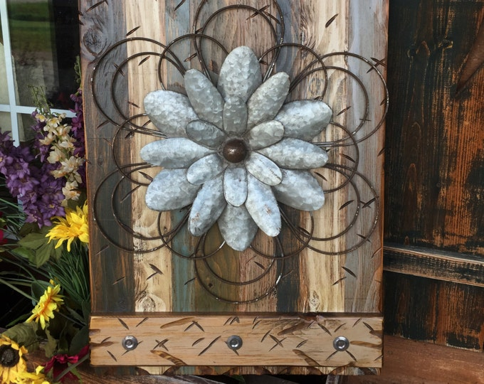 FLOWER Rustic Sign MED BLUE Green Reclaimed Shutter Barn Wood Distressed Industrial Outdoor Metal Flowers Large Pallet Wall Home Decor Cabin