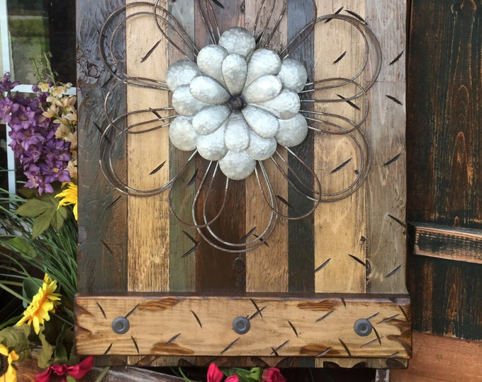 FLOWER Rustic Sign MED BROWN Reclaimed Shutter Barn Wood Distressed Industrial Blue Green Metal Flowers Large Pallet Wall Home Decor Cabin
