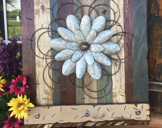 FLOWER Rustic Sign LARGE Reclaimed Shutter Barn Wood Distressed Industrial Blue Green Red Metal Flowers Pallet Wall Home Decor Log Cabin