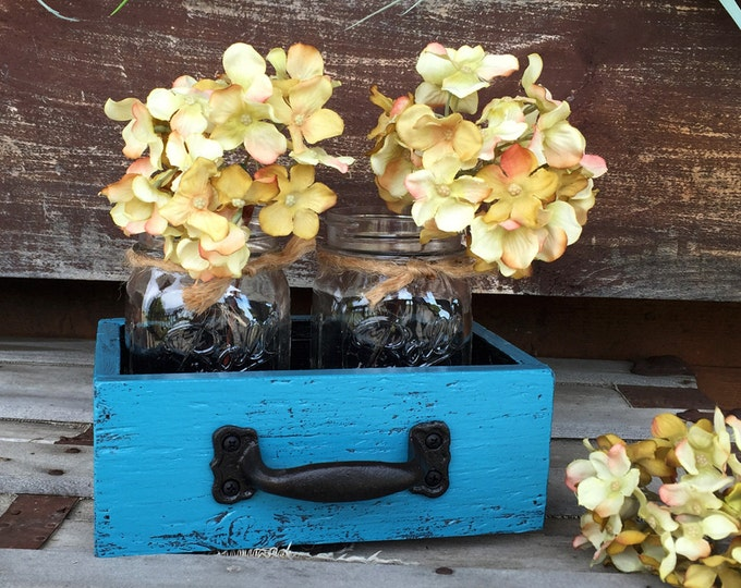 MASON Jar Centerpiece DRAWER Reclaimed Distressed Wood Mail Organizer Box Ball Canning 2 Jars Crate Caddy Storage Handle Blue White Red Teal