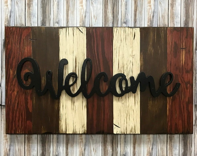 Welcome, Family, Love, Blessed, Rustic Word Sign Reclaimed Distressed Wood Hawaiian Blue, Brown, Burgundy, Black Large Wall Home Decor 28x16
