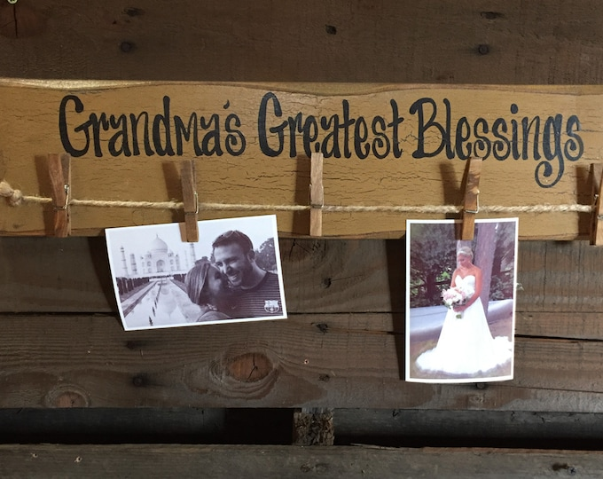 "PHOTO Holder Sign GRANDMAS Greatest Blessings Reclaimed Wood 24"" Picture Frame Gift for Grandma Grandkids Family Rustic Clothes Pins Clips"