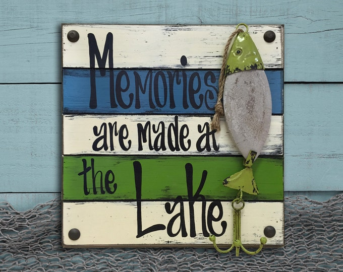 FISH SIGN LAKE Memories Made Lure Pallet Unique Teal Caribbean Blue Green White Turquoise Distressed Fisherman Dad Gift Bait hook Fishing