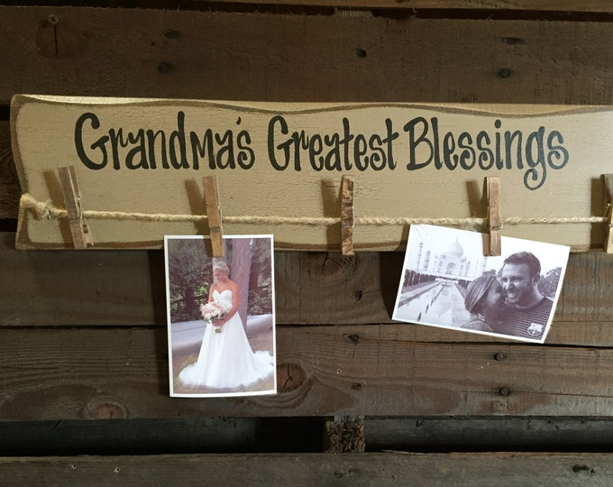 Grandmas birthday gift PHOTO Holder Sign Greatest Blessings Wood Wall Picture Frame for Grandma Grand kids Family Rustic Clothes Pins Clips