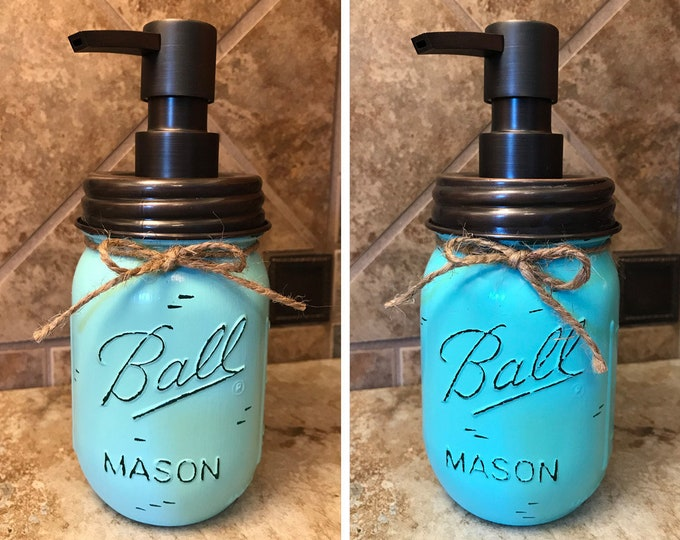 Mason JAR SOAP Oil Rubbed Bronze Metal DISPENSER Painted Distressed Ball Pint Canning Kitchen Bathroom Lotion Cream Brown Blue White Quality