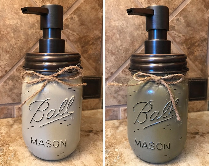 Mason JAR SOAP Oil Rubbed Bronze Metal DISPENSER Painted Distressed Ball Pint Canning Kitchen Bathroom Lotion Cream Brown Blue Green Quality