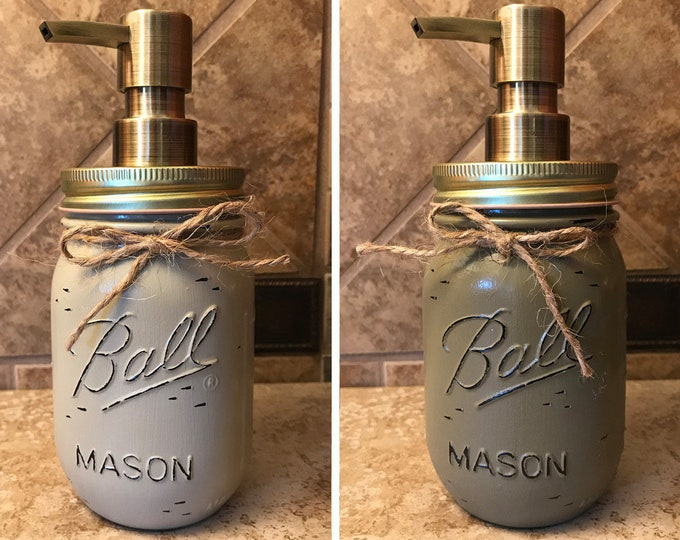 Mason JAR SOAP Brass Bronze Gold Metal DISPENSER Painted Distressed Ball Pint Canning *Kitchen Bathroom Lotion Green Blue Turquoise *Quality