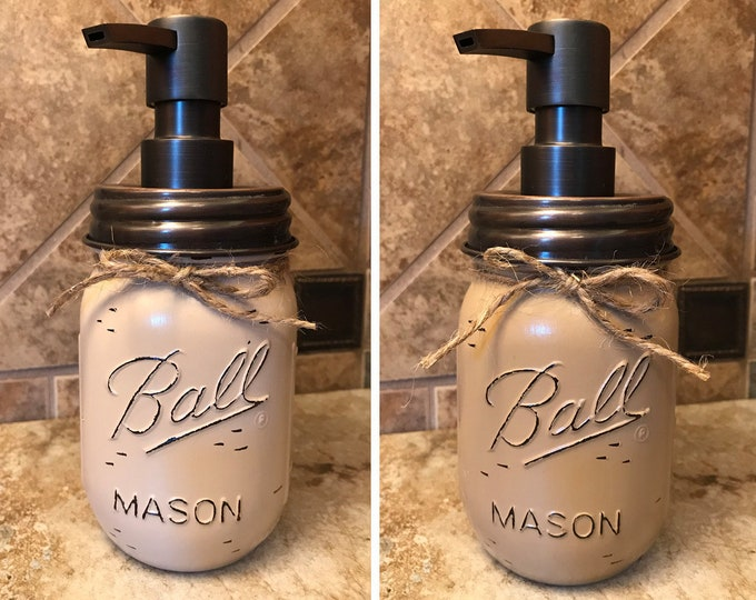 Mason JAR SOAP Oil Rubbed Bronze Metal DISPENSER Painted Distressed Ball Pint Canning Kitchen Bathroom Lotion Cream Tan Brown White Quality