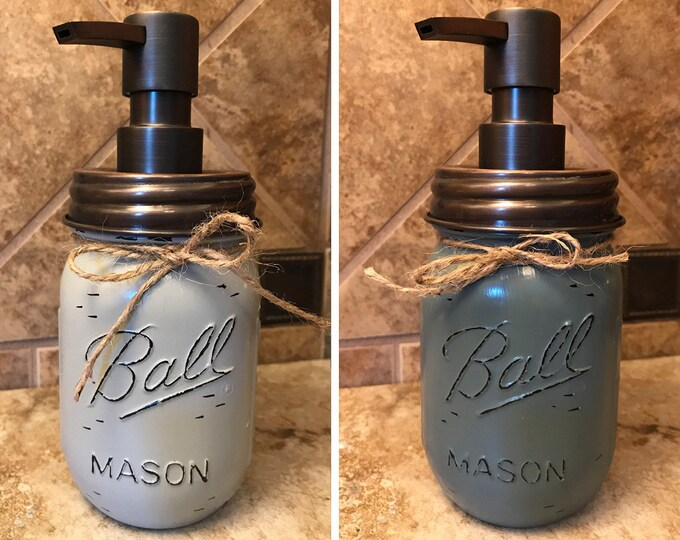 Mason JAR SOAP Oil Rubbed Bronze Metal DISPENSER Painted Distressed Ball Pint Canning *Kitchen Bathroom Lotion Pink Gray Blue White *Quality