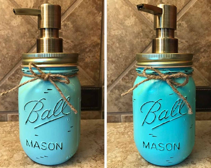 Mason JAR SOAP Brass Bronze Gold Metal DISPENSER Painted Distressed Ball Pint Canning *Kitchen Bathroom Lotion Gray Blue Turquoise *Quality
