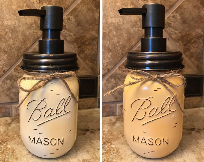 Mason JAR SOAP Oil Rubbed Bronze Metal DISPENSER Painted Distressed Ball Pint Canning Kitchen Bathroom Lotion Tan Brown Yellow Gray Quality
