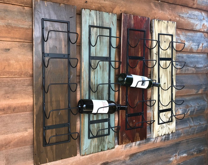 WINE RACK Wall Mounted Metal Wood 5 Bottle Holder Home Decor Distressed Sturdy Kitchen Bar Wine Bathroom Towels Man cave Rustic Red White