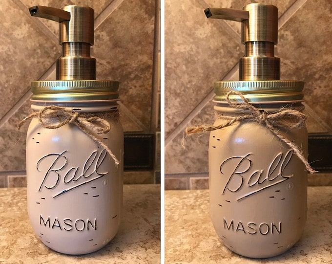 Mason JAR SOAP Brass Bronze Gold Metal DISPENSER Painted Distressed Ball Pint Canning Kitchen Bathroom Lotion Cream Tan Brown Yellow Quality