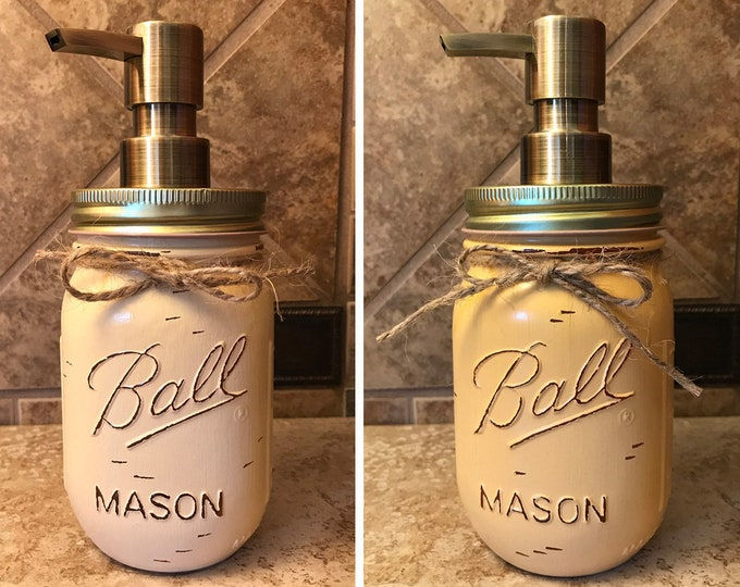 Mason JAR SOAP Brass Bronze Gold Metal DISPENSER Painted Distressed Ball Pint Canning Kitchen Bathroom Lotion Tan Brown Yellow Gray Quality
