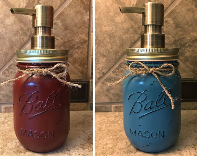 Mason JAR SOAP Brass Bronze Gold Metal DISPENSER Painted Distressed Ball Pint Canning Kitchen Bathroom Lotion Red Blue Yellow Gray Quality