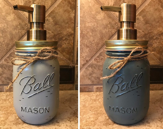 Mason JAR SOAP Brass Bronze Gold Metal DISPENSER Painted Distressed Ball Pint Canning Kitchen Bathroom Lotion Cream Blue Brown Gray Quality