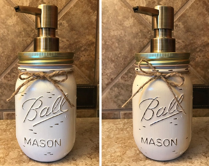 Mason JAR SOAP Brass Bronze Gold Metal DISPENSER Painted Distressed Ball Pint Canning *Kitchen Bathroom Lotion White Green Red Blue *Quality