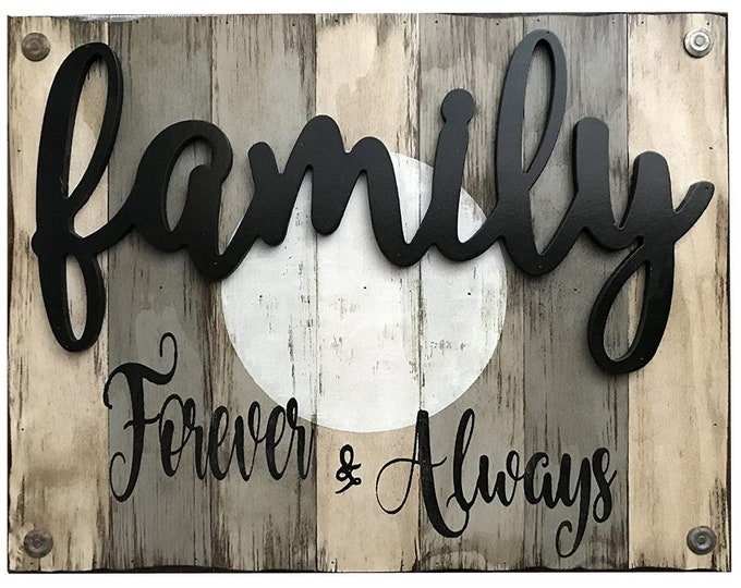 Family Forever & Always Wooden SIGN *Beautiful Distressed Wood Wall *Rustic Large Home Decor, Living Room *Cream Blue Gray Grey 26X20