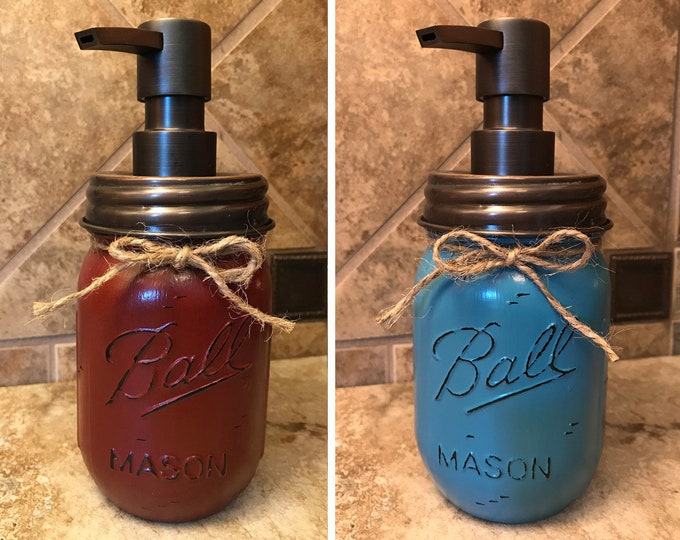 Mason JAR SOAP Oil Rubbed Bronze Metal DISPENSER Painted Distressed Ball Pint Kitchen Bathroom Lotion Burgundy Red Blue White Green Quality