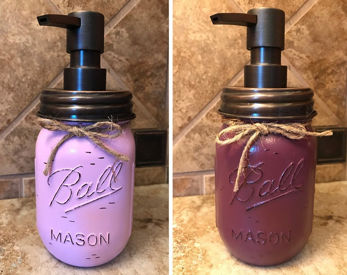 Mason JAR SOAP Oil Rubbed Bronze Metal DISPENSER Painted Distressed Ball Pint Canning *Kitchen Bathroom Lotion Pink Purple White *Quality