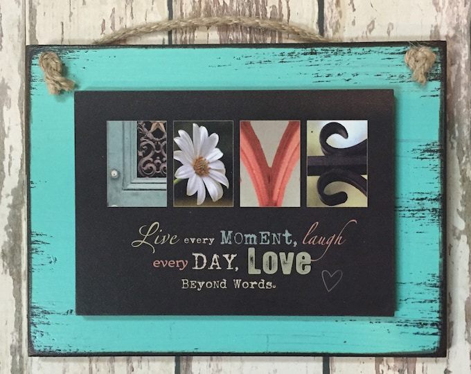 LOVE SIGN Wood Love beyond words Live every moment laugh day Wall Decor wedding gift valentines day anniversary photo letters red blue mint