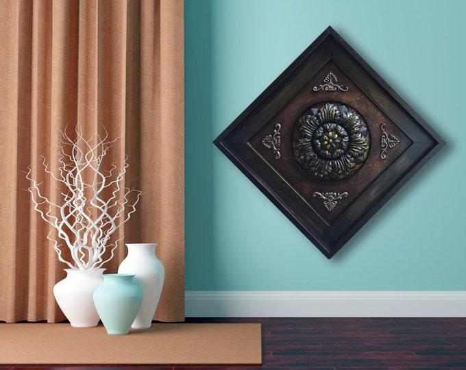 """METAL Wall ART Wood Espresso Framed Metal Fleur de lis Gold Flower Floral Sign Rust Red Copper Golden 21"""" Square Picture Plaque Unique SALE"""