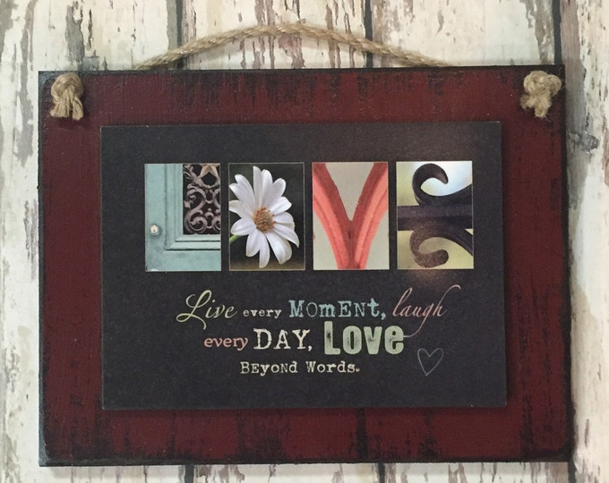 LOVE SIGN Wood Love beyond words Live every moment laugh day Wall Decor wedding gift valentines day anniversary photo letters red blue