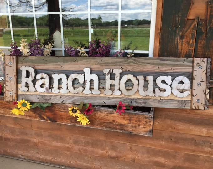 RANCH HOUSE Rustic Sign GREEN Blue Reclaimed Shutter Distressed Industrial Navy Metal Large Pallet Wall Western Country Home Decor Log