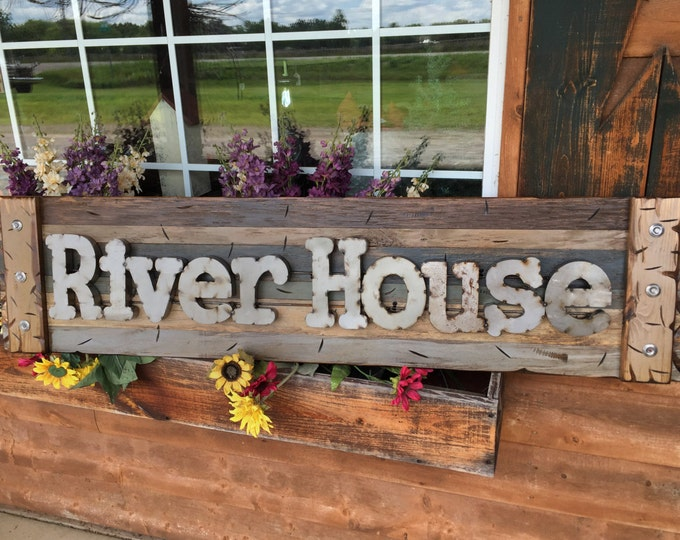 RIVER HOUSE Rustic Sign BROWN Reclaimed Shutter Distressed Industrial Blue Green Burgundy Metal Large Pallet Wall Cabin Lake Home Decor Log