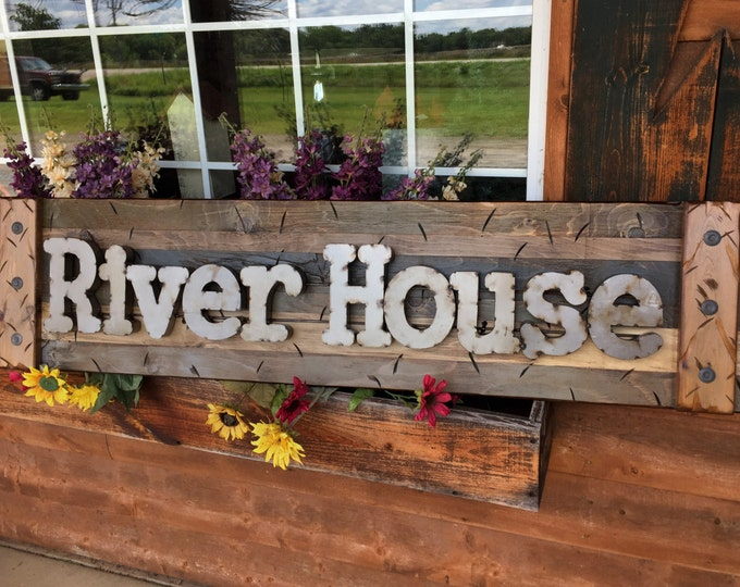 RIVER HOUSE Rustic Sign BLUE Green Reclaimed Shutter Distressed Industrial Navy Hunter Metal Large Pallet Wall Cabin Lake Home Decor Log
