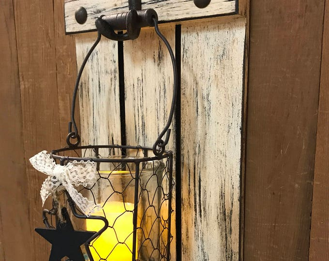 Wall JAR SHUTTER Reclaimed Flameless CANDLE Glass with Star Chicken Wire Sconce Rustic Buttons Country Distressed Cream Metal Hook Decor