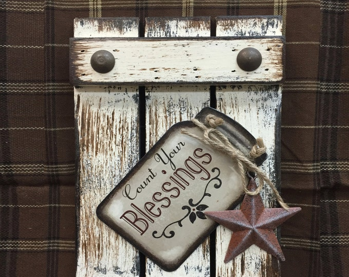 SIGN Mason JAR BLESSINGS Count your Reclaimed Pallet Wood Rustic Distressed Ball Canning Country Kitchen Star Wall Shutter Grandma Gift Love