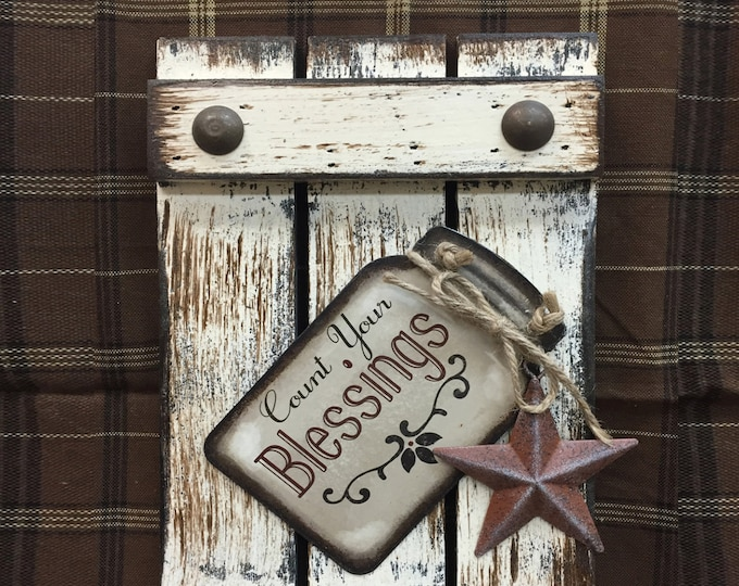Kitchen SIGN Mason JAR BLESSINGS Count your Reclaimed Pallet Wood Rustic Distressed Ball Canning Country Star Wall Shutter Grandma Gift Love