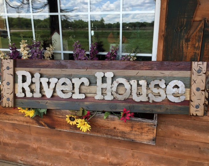 RIVER HOUSE Rustic Sign BURG Reclaimed Shutter Distressed Industrial Blue Green Burgundy Metal Large Pallet Wall Cabin Lake Home Decor Log