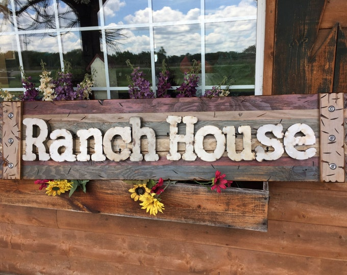 RANCH HOUSE Rustic Sign BURG Blue Reclaimed Shutter Distressed Industrial Red Navy Metal Large Pallet Wall Western Country Home Decor Log