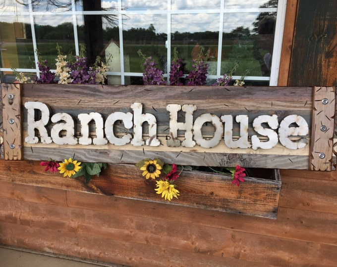 RANCH HOUSE Rustic Sign BROWN Blue Reclaimed Shutter Distressed Industrial Navy Tan Metal Large Pallet Wall Western Country Home Decor Log