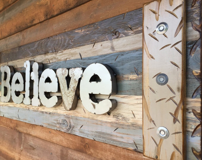 BELIEVE Rustic Sign BROWN Reclaimed Shutter Distressed Industrial Navy Blue Green Metal Large Pallet Wall Faith Love Gift Home Decor Log
