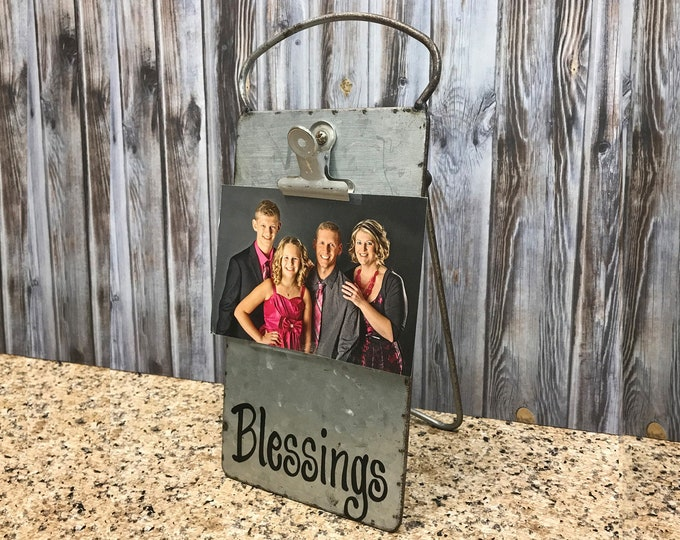PHOTO HOLDER Metal Antique Cheese Grater with Clip/Clipboard Picture Frame great for 4x6 photos -Vintage Rustic Silver, Blessings, Family