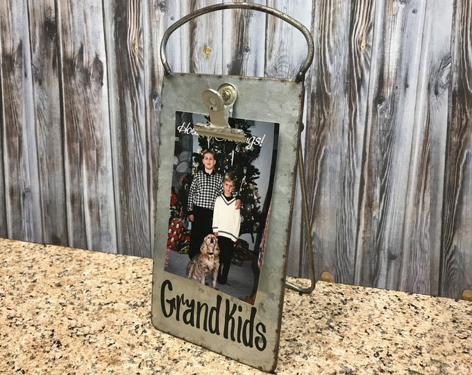 PHOTO HOLDER Metal Antique Cheese Grater with Clip/Clipboard Picture Frame great for 4x6 photos -Vintage Rustic Silver, Grandkids, Family