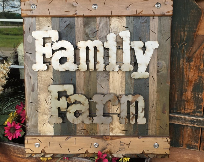 FAMILY FARM Farmhouse Decor Wall Rustic Sign GREEN Reclaimed Shutter Distressed Industrial Blue Red Farmer Metal Large Pallet Cabin Home