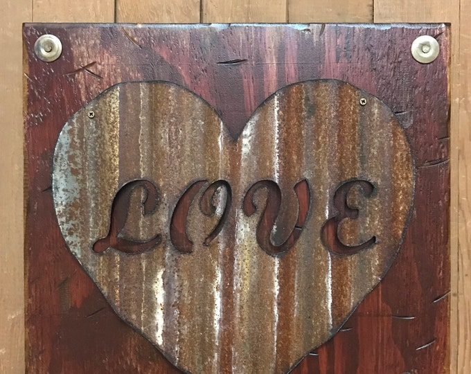 LOVE Wall Sign with GALVANIZED METAL, Rusty Heart Reclaimed Home Decor, Industrial Love, Distressed Rustic Wood Love, Tan Cream Burgundy Red